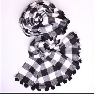 J Crew black & white pom pom scarf